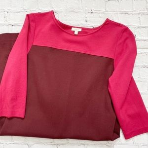 Talbots Pink & Burgundy 3/4 Sleeve Midi Dress